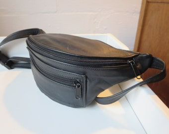 Vintage Leather Fanny Pack - Black Leather Bum Bag made in Mexico