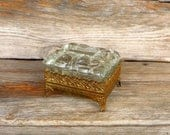 Vintage Jewelry Box Glass and Ornate Gold Stand Keepsake Box 1960s Vanity Box Retro Vanity Bathroom Accessory