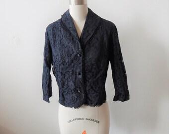 "Vintage 1960s Suit Jacket Black Lace Over Taffeta 38"" bust"