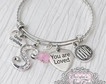 Great Grandma Jewelry, Gifts for Grandma, Bangle Bracelet, You are Loved Charm, Birthday Gifts, Valentines Day, Personalized Bangle, Love