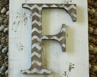 Chevron Hanging Farmhouse letter F sign- Wall hanging letter READY TO SHIP F Wedding gift teacher gift