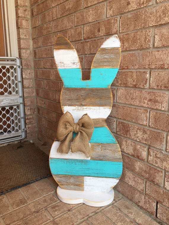 wood easter signs wood standing bunny 31 inch easter bunny reclaimed wood