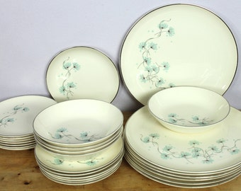 Vintage 1950's Taylor Smith and Taylor Versatile Blue Lace Dinnerware 26pc