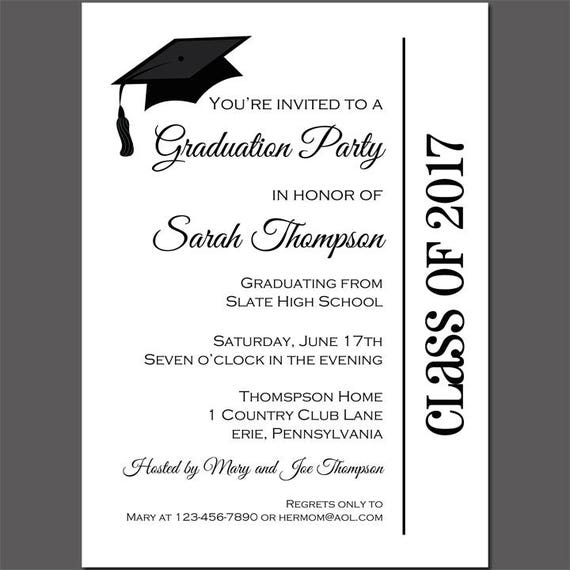 graduation party invitation printable or printed with free shipping