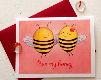 Bee my honey Valentine's card by Megumi Lemons