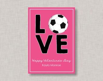 Valentine Classroom Cards, Soccer Valentine Card, Classroom Valentine Card,  Valentineu0027s Day, Soccer
