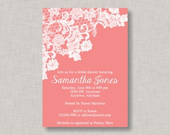 Lace Bridal Shower Invitation, Shabby Chic Bridal Shower Invitation, Doiley Bridal Shower Invitation, Rose Bridal Shower Invitation, Elegant