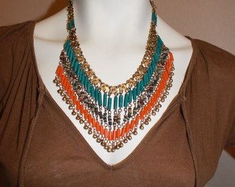 Vintage Beaded Necklace with Bells FREE Domestic Shipping