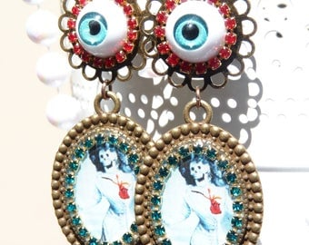 FREE SHIPPING Happy Dead Handmade Resin Dangle Earrings - Light Weight - Frida Kahlo - Blue Eyeball - Spring Jewelry - Day Of The Dead