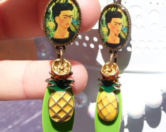 FREE SHIPPING Frida Kahlo Handmade Resin Dangle Earrings - Mexican Folk Art - Colorful - Pineapple Earrings - Summer Trends Jewelry -For Her