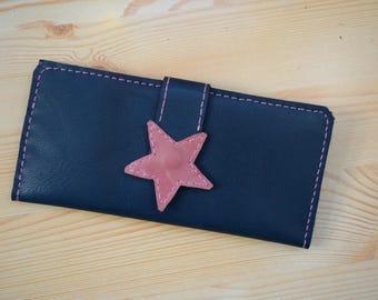 Womens wallet,woman wallet,leather wallet,star leather wallet,large wallet,blue wallet,leather coin purse,blue jeans wallet,stars wallet