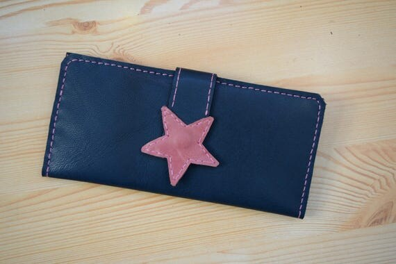 Womens wallet,woman wallet,leather wallet,star leather wallet,large wallet,blue wallet,leather coin purse,blue jeans wallet,stars wallet