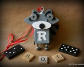 50% OFF - Robot Ornament - Raccoon Bot - R Bot - Upcycled Ornament - Hanging Decor by Jen Hardwick