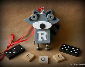 Robot Ornament - Raccoon Bot - R Bot - Upcycled Ornament - Hanging Decor by Jen Hardwick