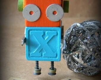 Robot Ornament - X Bot (Turquoise/Orange) - Upcycled Ornament - Hanging Decor by Jen Hardwick
