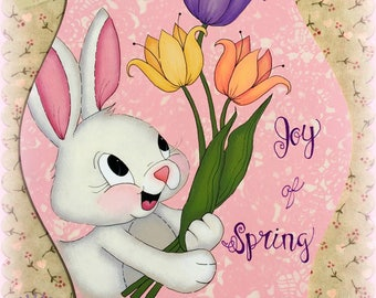 E PATTERN - Joy of Spring - Cute Bunny with Tulips! Painted & Designed by Sharon Bond