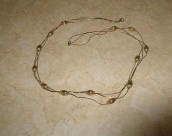 vintage necklace triple strand goldtone chain balls