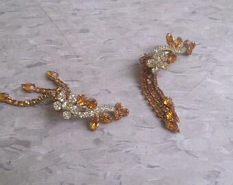 vintage clip earrings yellow white rhinestones dangles silvertone