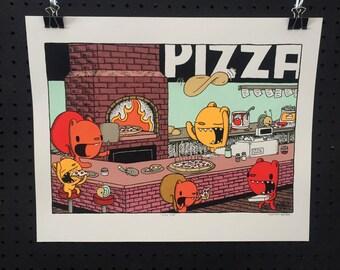 slice shop screen print, art print, kids room art, nursery art, pizza print, kitchen print