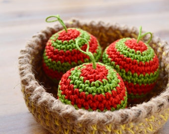 Christmas Baubles Crocheted - Red and Green Candy Cane Stripe, Soft Cotton Xmas Tree Decorations - Set of 3 Made To Order