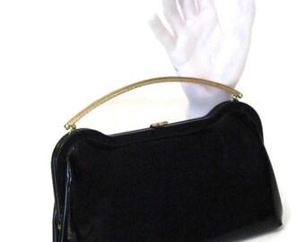 60s Evening Bag Black Patent Clutch Black Patent Purse Formal Black Purse 1960s Evening Clutch Black Cocktail Bag Black Evening Bag