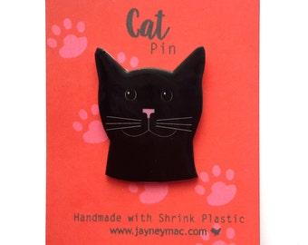Black Cat Pin - Shrink Plastic Cat Pin
