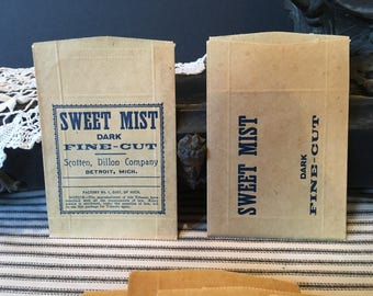 3 Vintage SWEET MIST Dark Fine Cut Tobacco Bags / New Old Stock / Sweet Mist Paper Tobacco Bag