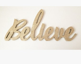 Believe wooden words stand up letters connected custom