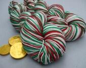 Soft Socks 4 ply Yarn Stripes. Snowflakes on Berries