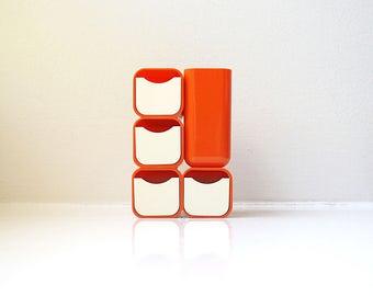 Mod Orange Desk Organizer Caddy 70's Mid Century Modern Pen Pencil Holder