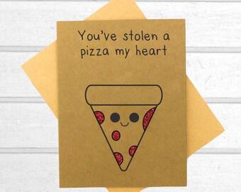 Pizza Love Card - Funny love you card - Valentines Day Card - Boyfriend Card - Kawaii Card - Love Card For Him - Cute I Love You Card