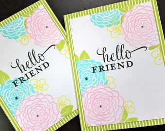 Floral Blank Cards Set of 2, Hello Cards, Spring Birthday Cards Set, Any Occasion Blank Cards, Floral Thank You Cards, Hello Cards