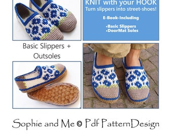 E-Book Spring-Flower Crochet Slippers - and Customized Door-Mat-Soles - 2 patterns - Instant Download Pdfs