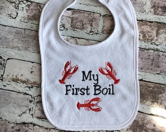 My First Seafood Boil Bib, First Crawfish Boil, Crawfish Baby,