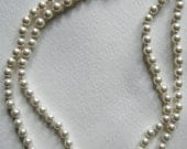 Pearl Double Strand Necklace with Sterling Silver Clasp//Vintage Choker