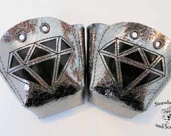 LIMITED Mirrored Silver Leather Roller Derby Skates Toe Guards with Patent Black Diamonds