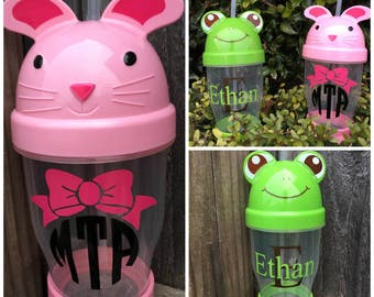 Personalized Children's Cup - Frog Cup - Bunny Cup - Easter Basket Filler - Easter - Children's Accessories - Children's Cup - Pink Bunny