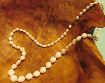 Vintage White Milk Glass Graduated Bead Necklace, 28 inches long