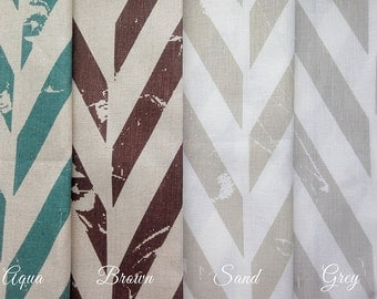 Printed fabric Zigzag, Linen cotton fabric by the yard, Geometric fabric by yard, Brown fabric, Aqua fabric, Tan grey fabric, Printed linen