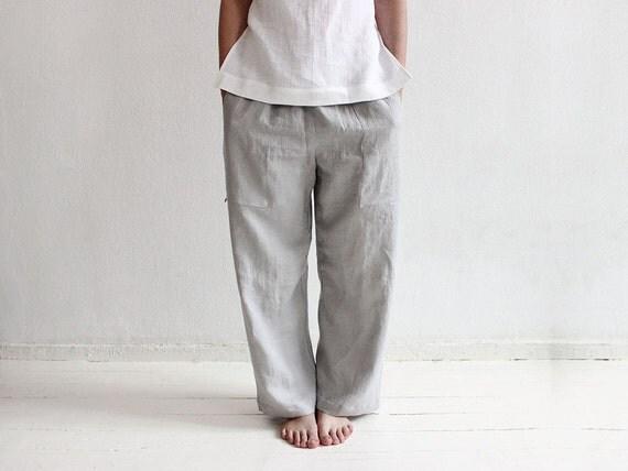 Natural linen pants Casual pants Loose pants with pockets