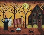 Halloween Folk Art Hand Painted Wooden Tray, Witch Hanging Laundry, Black Cats, Crows, Pumpkins, Full Moon, Saltbox House READY TO SHIP