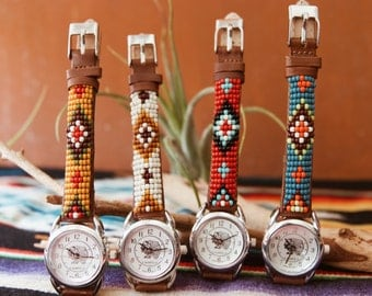 BLW-16, Native American inspired hand-beaded genuine leather indian face watch