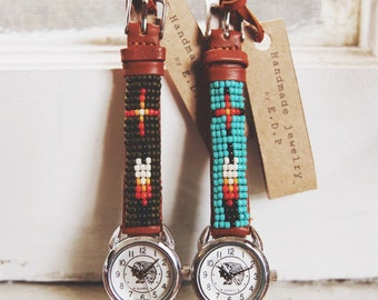BLW-17, Native American inspired hand-beaded genuine leather indian face watch