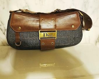 Authentic Christian Dior Leather/Denim Shouder/Handbag Gaucho style  retail 750