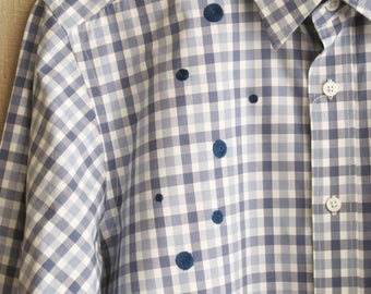 Men's Blue Gingham Shirt, Cotton, Long Sleeve, Medium, Designer, Hyden Yoo, Hand Embroidered, Up-Cycled, Preppy, Mens Clothing,Dress Shirt