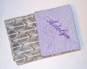 Lavender Minky Baby Blanket, Monogrammed Personalized Gray Arrow / Archer, Trendy