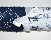 Monogrammed Baby Blanket - Minky Personalized - Vintage Airplanes - Navy Blue and White