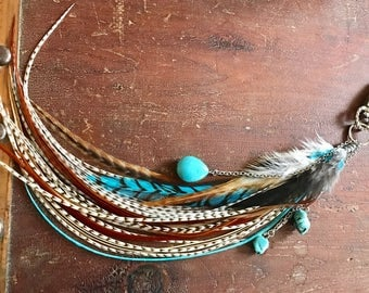 Turquoise  Feather Keychain, Bag Charm, Feather Tassel Key Chain, Turqouise Nugget Keychain Long Feather Purse Charm Belt Loop Decoration