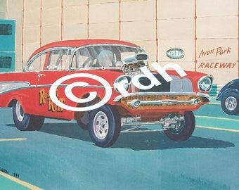 1957 Chevy Gasser drag racing art print