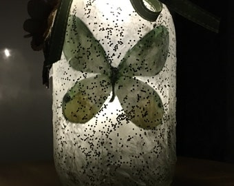 Butterfly lantern, frosted jar with butterfly, nightlight, decorative butterfly, decorative light, candle